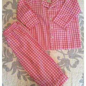 Pottery Barn gingham pink pajamas  set 2t